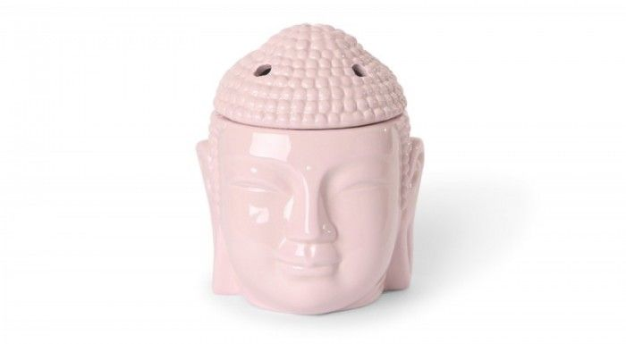 ceramic tealight burner in pleasant pink shaped as a Buddha head available from Scentchips Australia