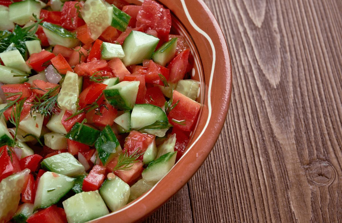 When the ingredients are fresh, salads can be simple yet impressive. This traditional, classic Israeli salad is perfect as a side, salad, or as filling for your pita.