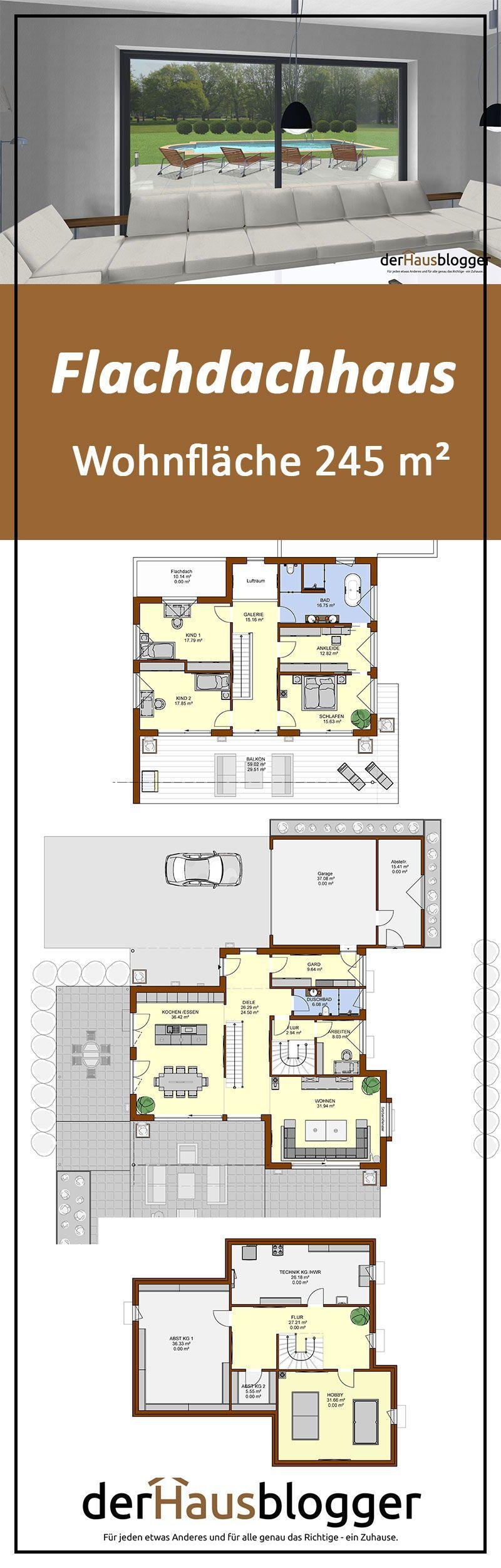 Flachdachhaus 245m² Flachdachhaus, Haus und Haus grundriss