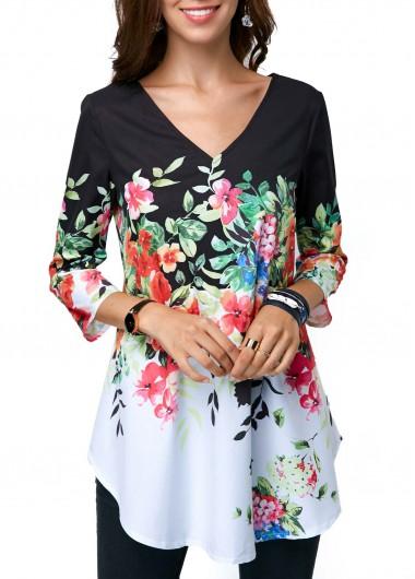 1c0a00d9e0be14 Floral Print Curved Hem Plus Size Tunic Tops Three Quarter Sleeve V ...