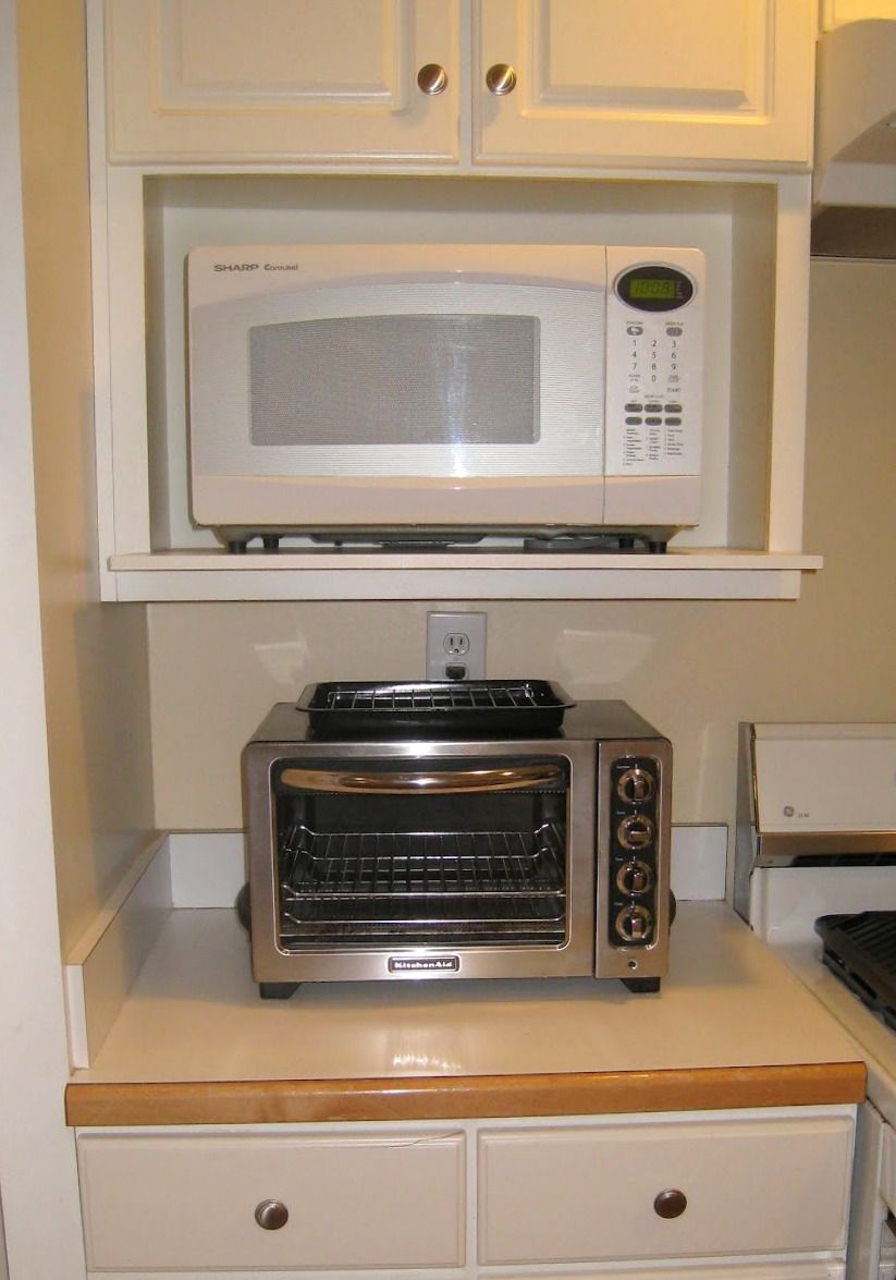 Microwave In Under Counter Holder With Easy To Clean Toaster Oven Underneath Microwave Toaster Oven Microwave Toaster Microwave Shelf