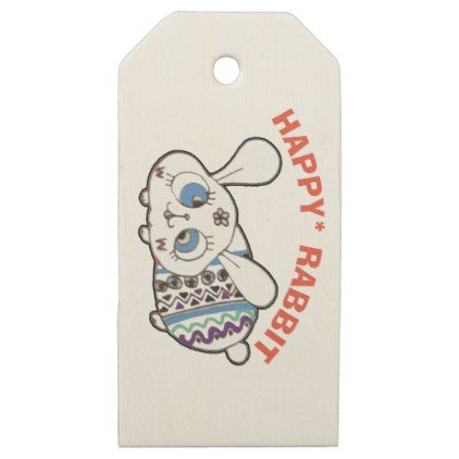 Happy easter rabbit wooden gift tags happy easter egg holiday happy easter rabbit wooden gift tags happy easter egg holiday family diy custom personalize negle Image collections