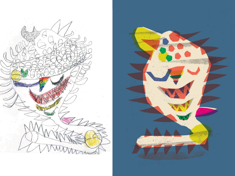 This is for The Monster Project, where you take a kids drawing (left) and reinterpret it your own way(right). I thought it would fun to show how a more childlike aesthetic can still work for us gro...