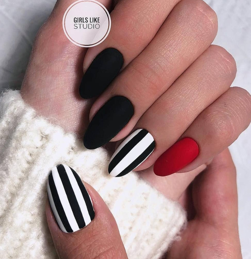 Matte Black Nails With Art