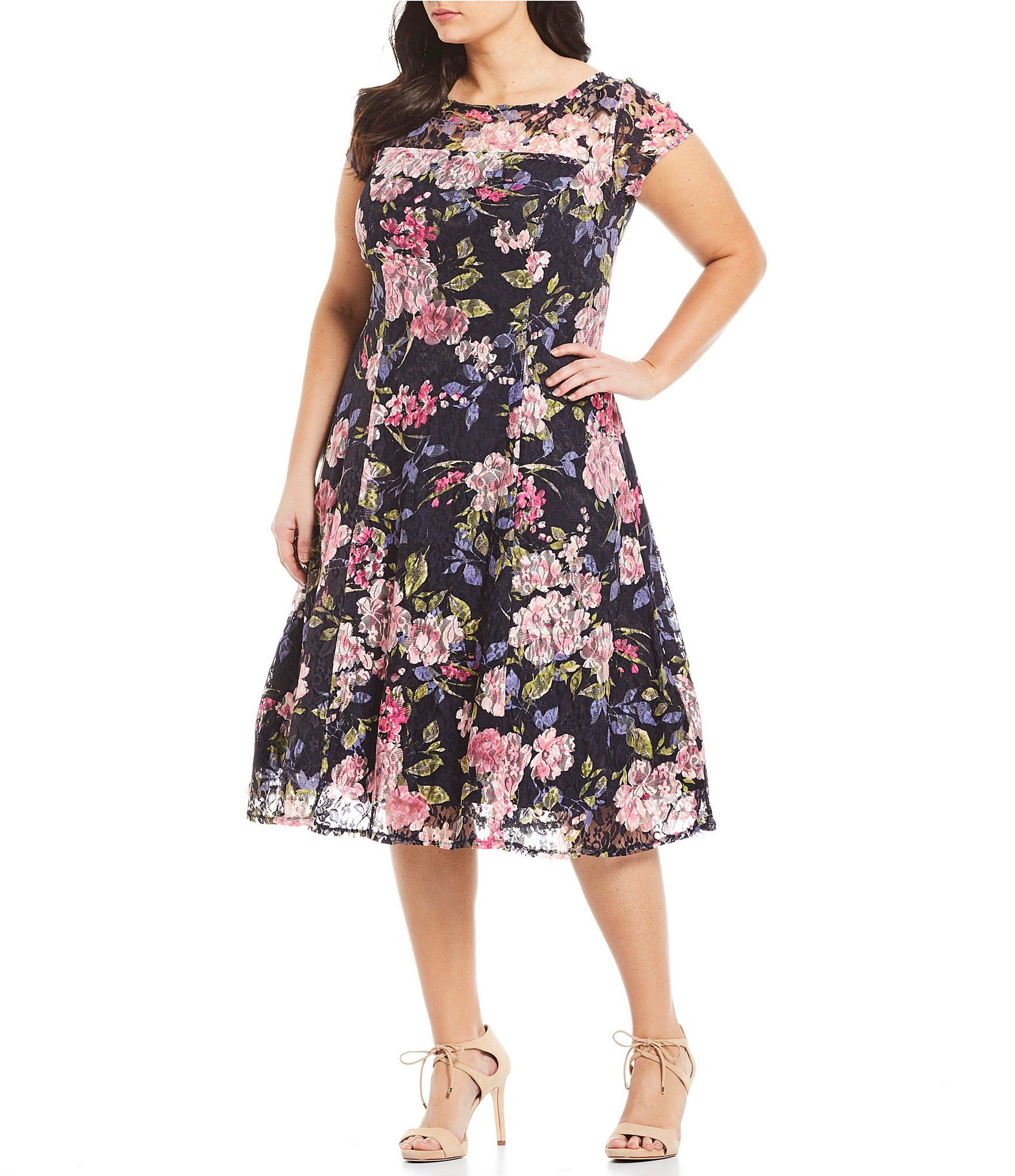 Ignite Evenings Plus Size Floral Lace Cap Sleeve A-Line Midi Dress ...