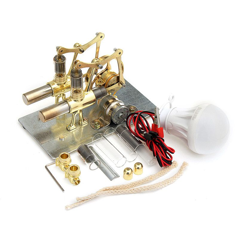 Wholesale Price Free Shipping Science Amp Discovery Toys Mini Hot Air Stirling Engine Generator Double Cylinder Engin Stirling Engine Stirling Engineering
