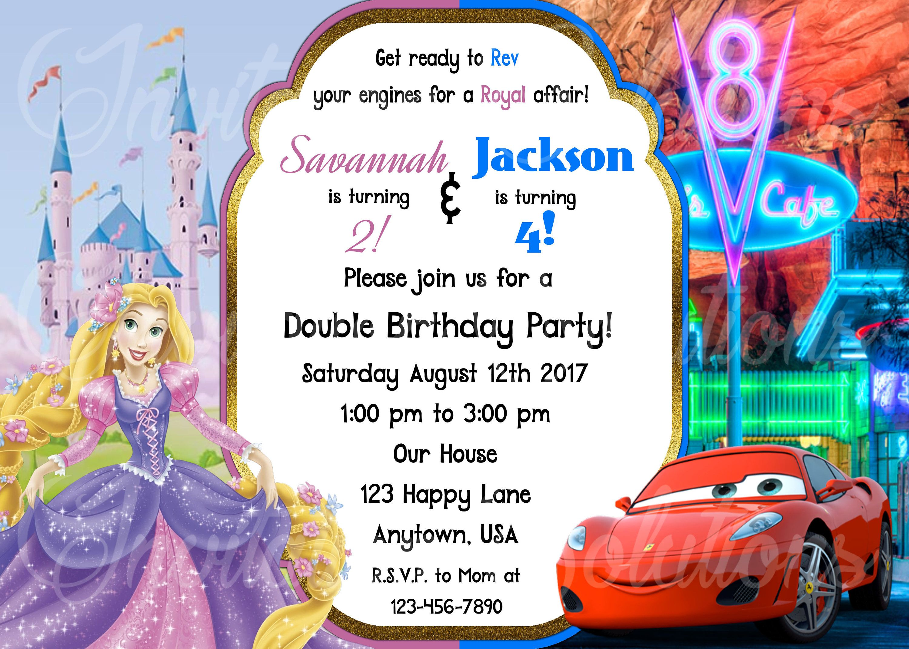 Rapunzel and Cars Twins Party Invitation/ Rapunzel from Tangled and ...