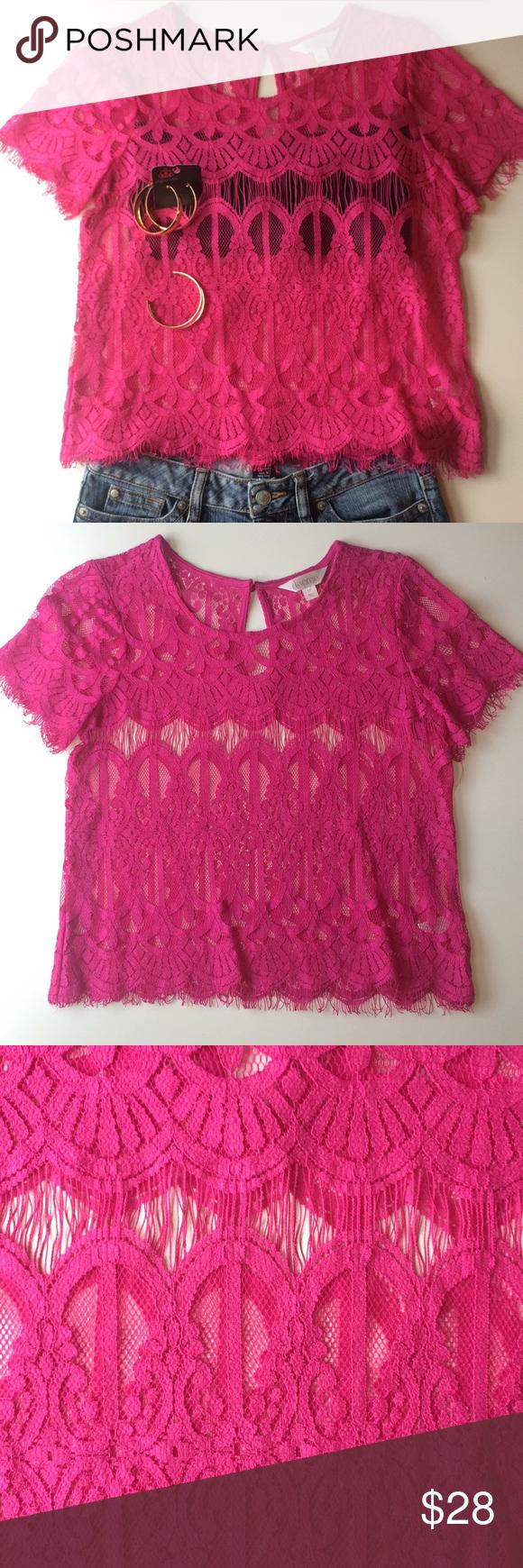 Hot pink lace top u jewelry set in my posh closet