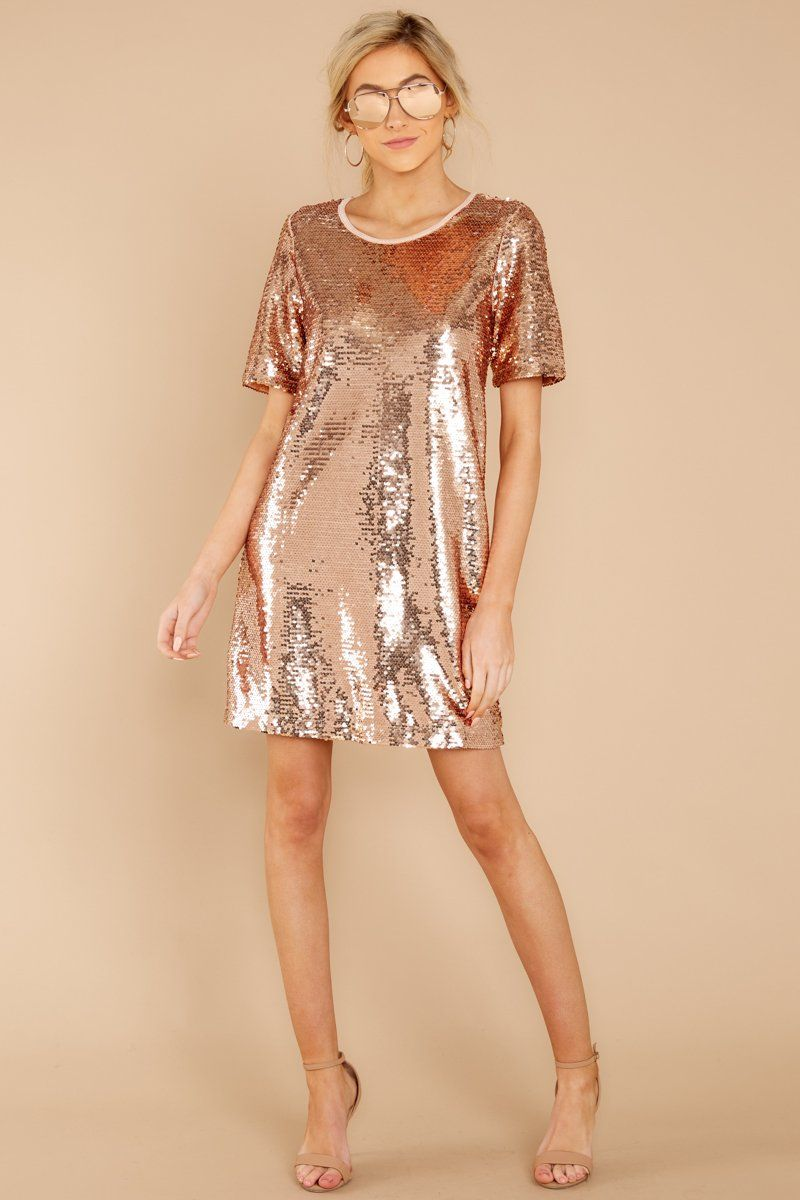 Chic Rose Gold Sequin Tunic Dress Sparkly Party Dress Dress 44 Red Dress Boutique Sequin Dress Sequin T Shirt Dress Sparkly Party Dress