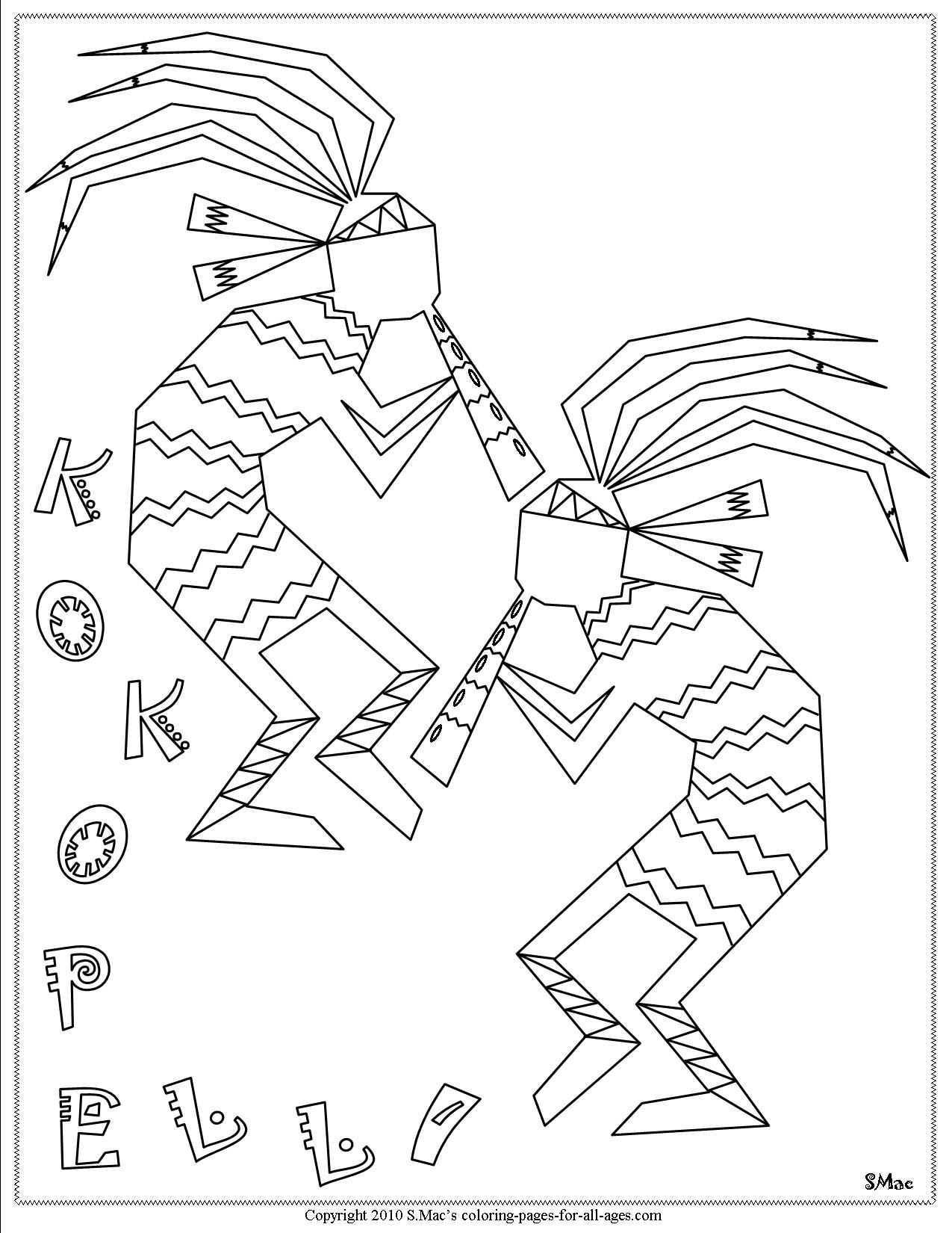 Kokopelli Coloring Pages Native American Symbols Coloring Pages