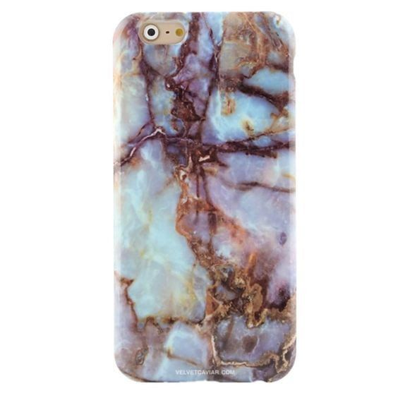 Turquoise Blue & Gold Marble Soft Cover For iPhone 6  6S 6 Plus