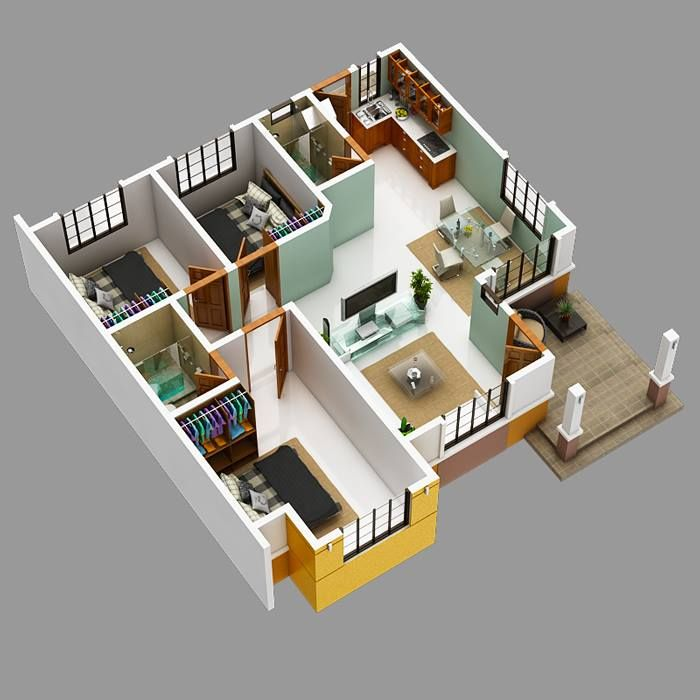 Picture Of Modern Bungalow House With 3d Floor Plans And Firewall Modern Bungalow House Model House Plan Bungalow House Plans