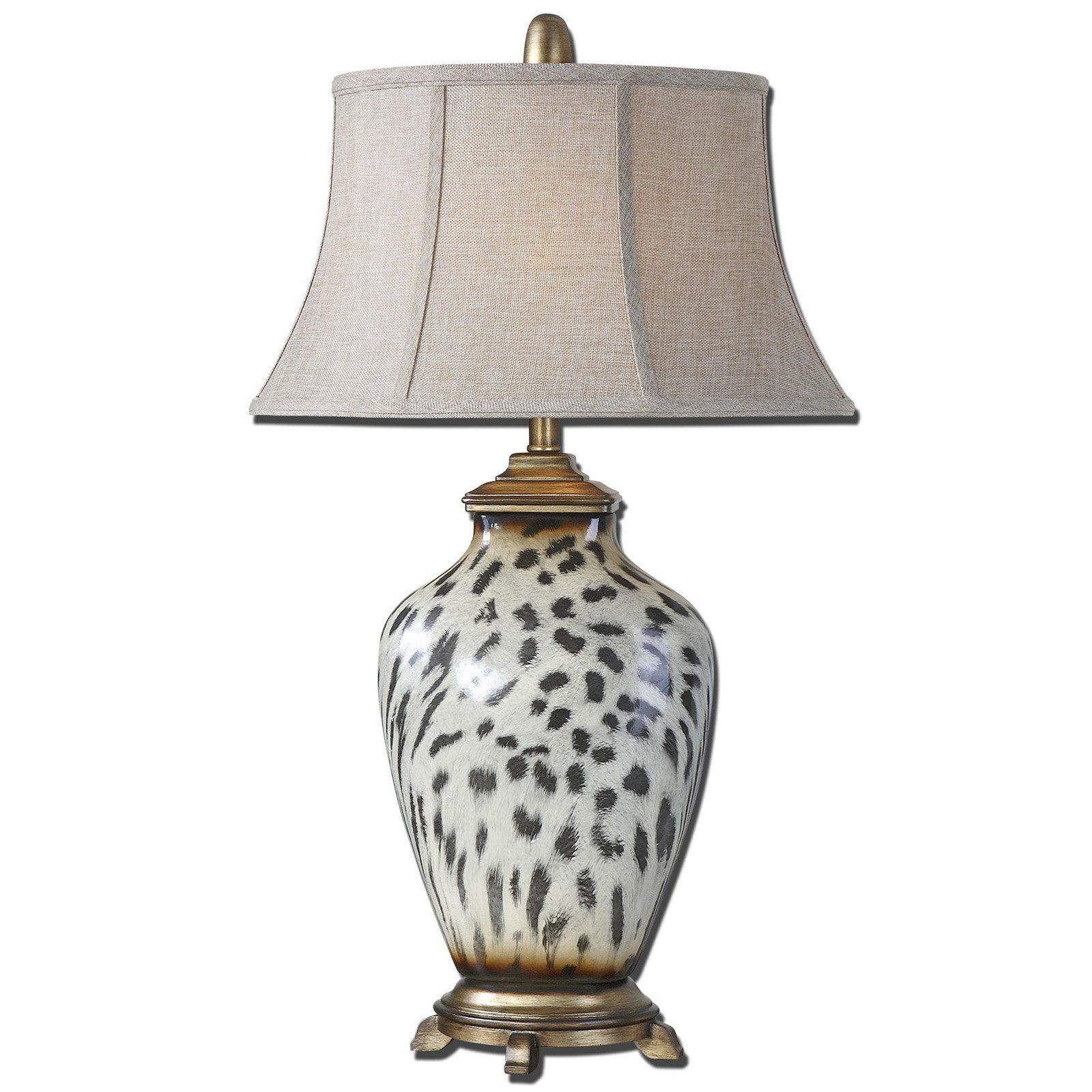 Uttermost 27489 malawi table lamp from hayneedle lighting off malawi cheetah print table lamp by uttermost burnished cheetah print over a ceramic base with heavily antiqued silver details geotapseo Gallery