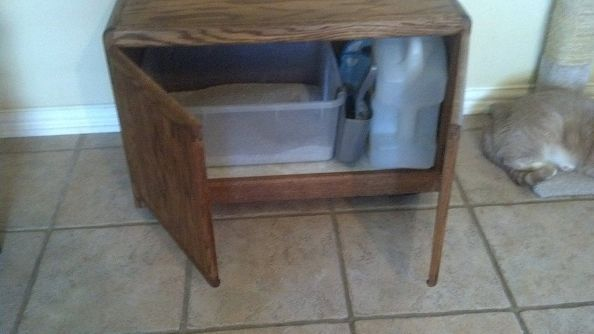 new kitty potty repurposed cabinet, painted furniture, repurposing upcycling