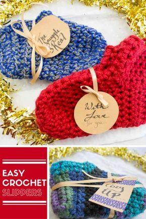 Easy Crochet Slippers Slippers Pinterest Easy Crochet Slippers