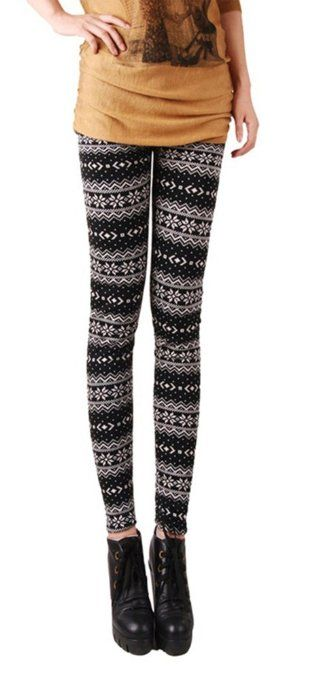 6623178a7b85ee Amazon.com: Women's Multi-Style Knitted Tights/Leggings with Nordic  Snowflake & Reindeer Design - Coffee: Clothing $14.24