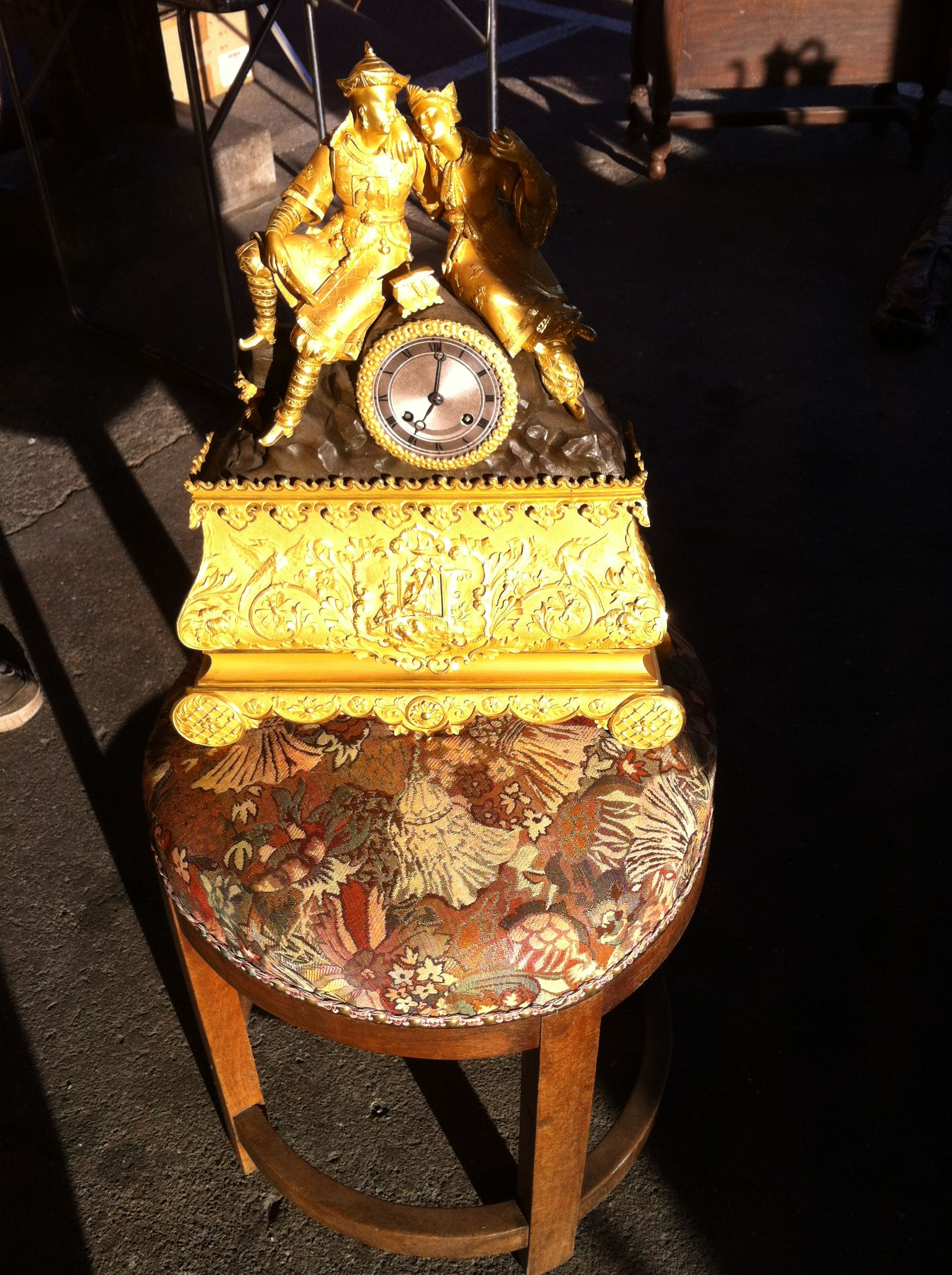At a flea market in South West  France, the perfect clock for an interior I am currently working on . The dorure is perfect and the subjects too! 19th century french