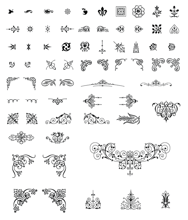Roundup Of Free Vintage Ornament Floral Vectors Vintage Graphics Vintage Ornaments Clip Art