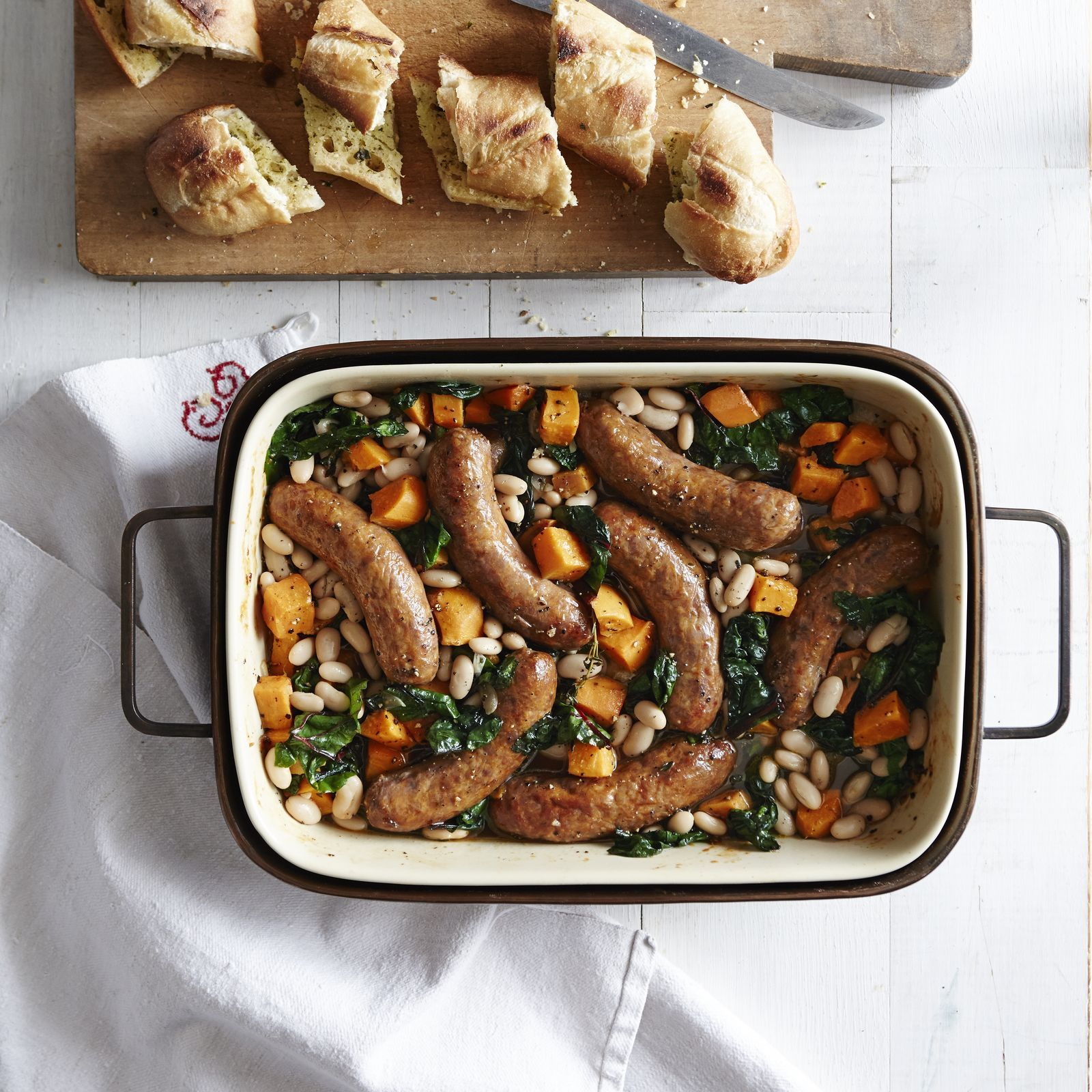 Roasted Sausages and Sweet Potato-White Bean Stew