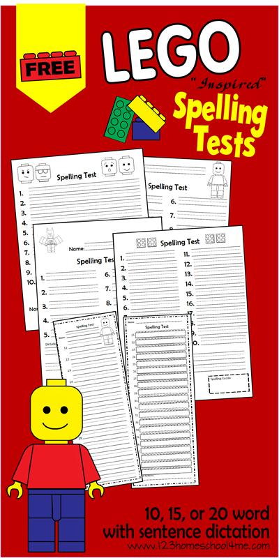 Free Lego Spelling Test Printables