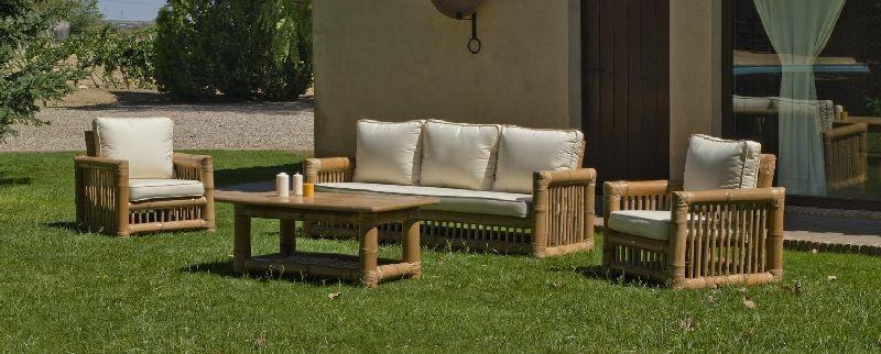 Salon de jardin bambou Kingston 5 places avec coussins écru ...