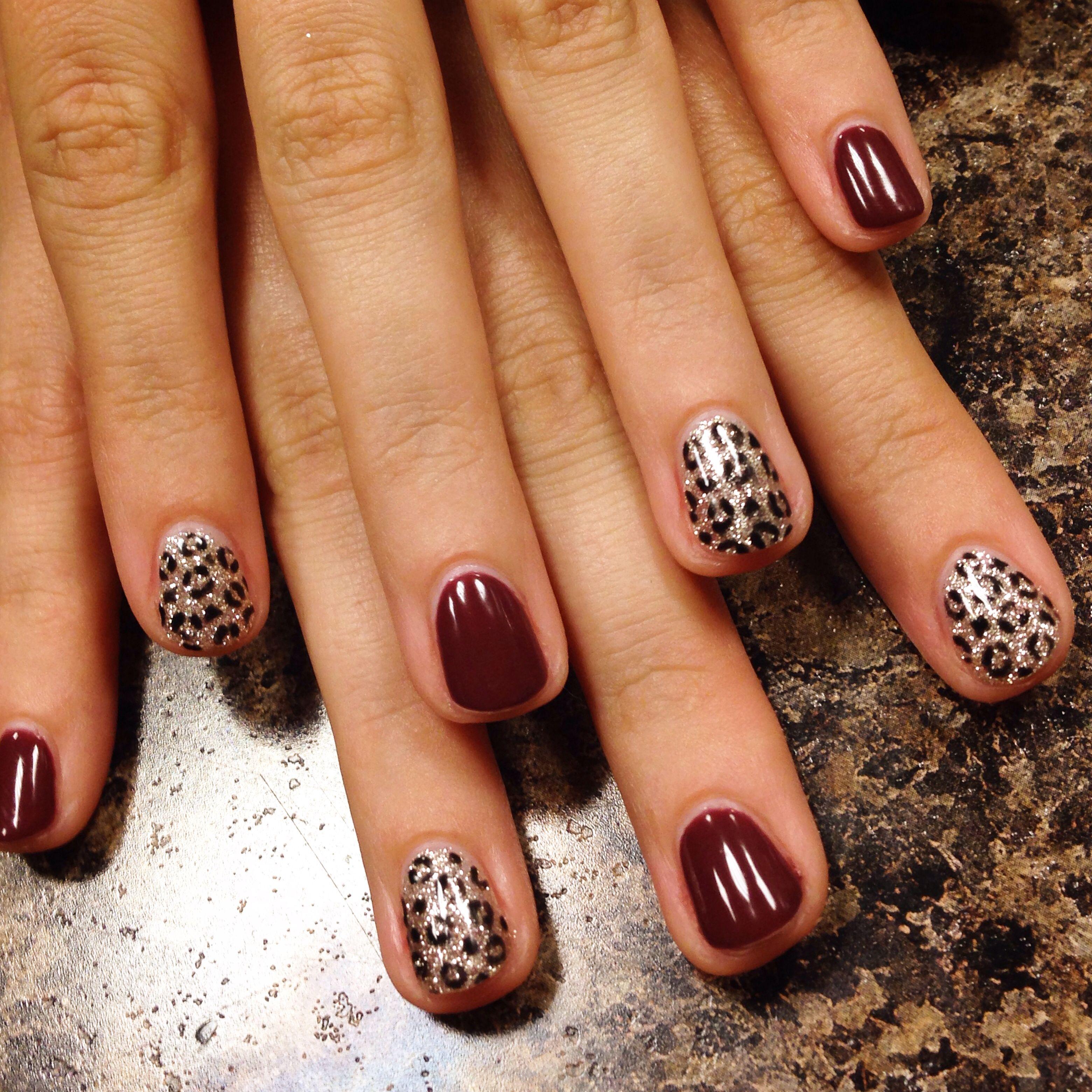 glitter cheetah print and burgundy gel nails nail art pinterest n gel. Black Bedroom Furniture Sets. Home Design Ideas