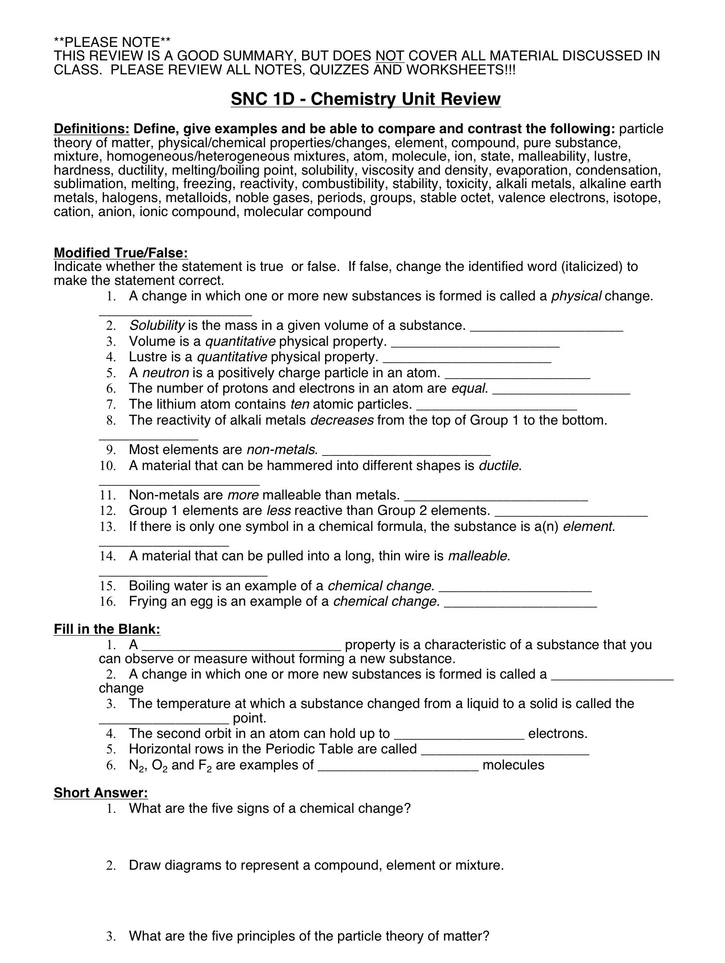 Chemistry Unit Review Worksheet