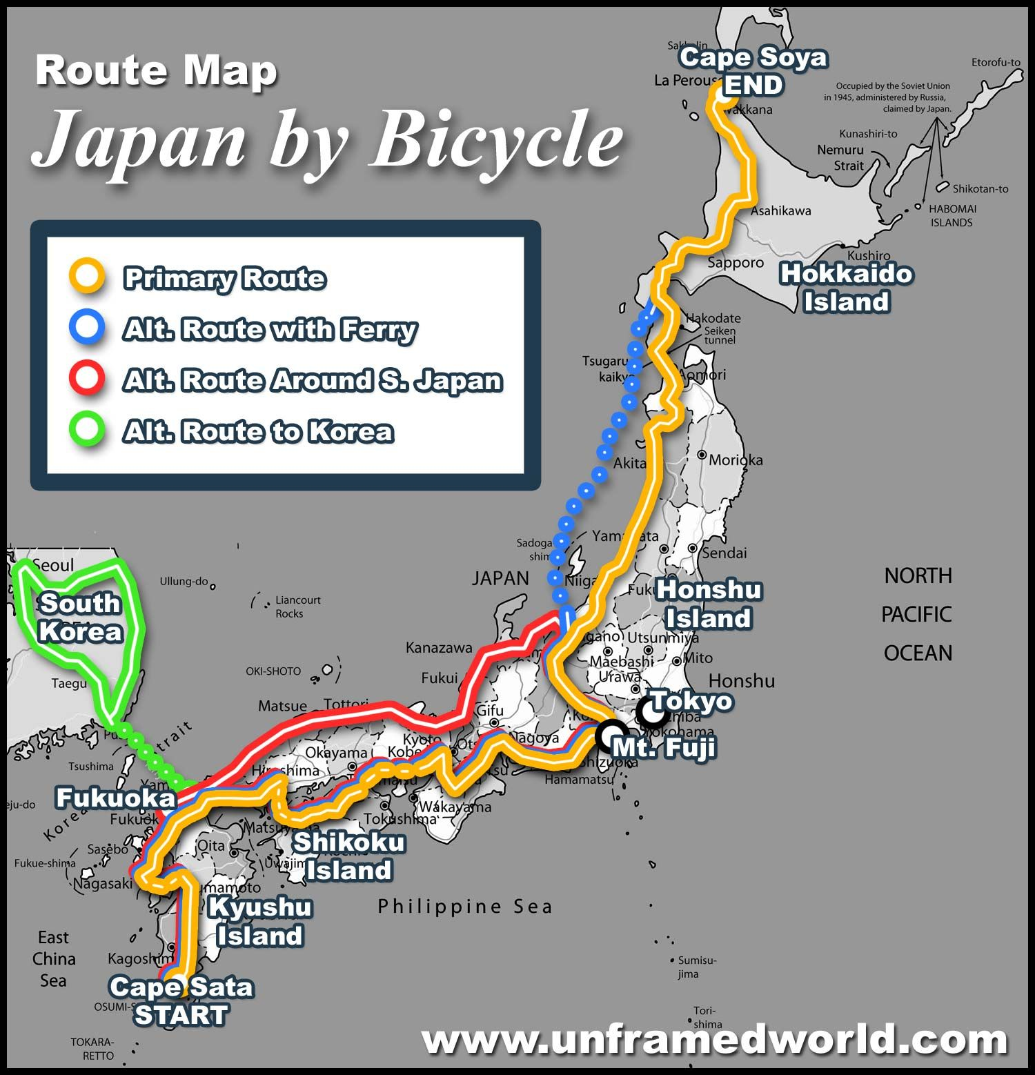 Travel route maps japan by bicycle route map bike tour japan travel route maps japan by bicycle route map sciox Gallery