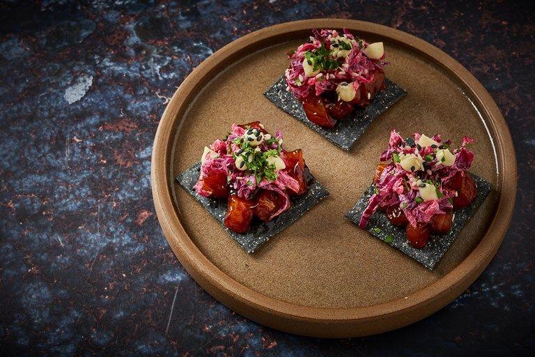 Teriyaki Salmon, Winter Slaw and Horseradish Canapé Recipe - Great British Chefs #teriyakisalmon