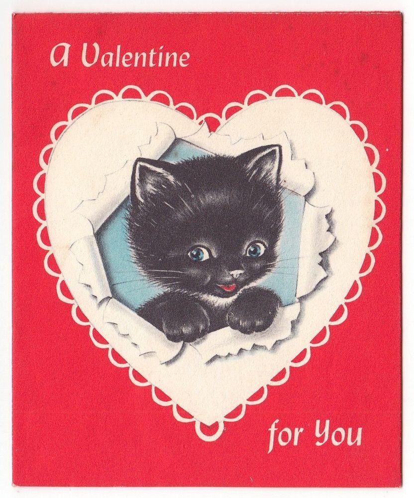 Vintage Valentine S Day Kitten Greeting Card Kittens Vintage Vintage Valentine Cards Vintage Greeting Cards