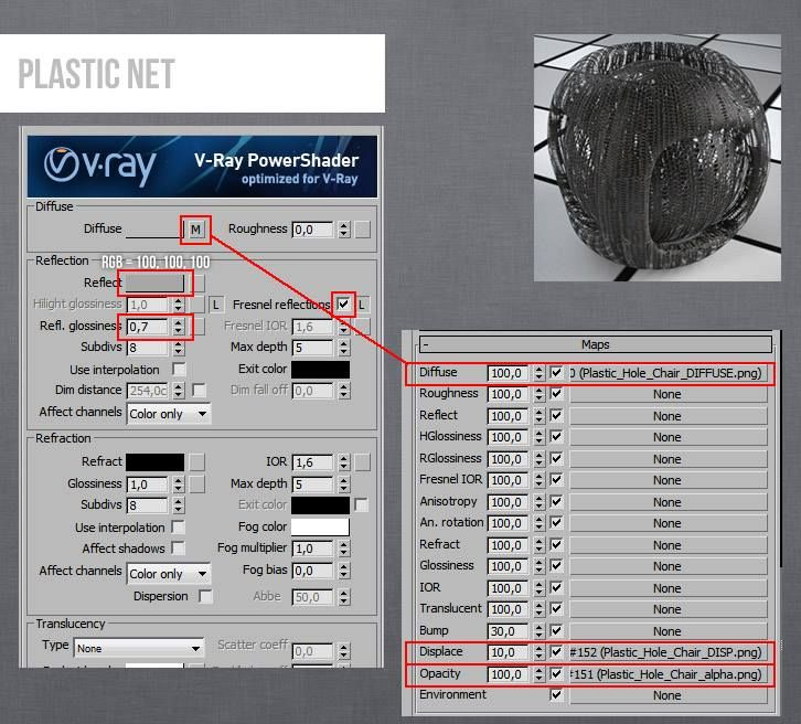 Vray Plastic Net 3ds Max Material