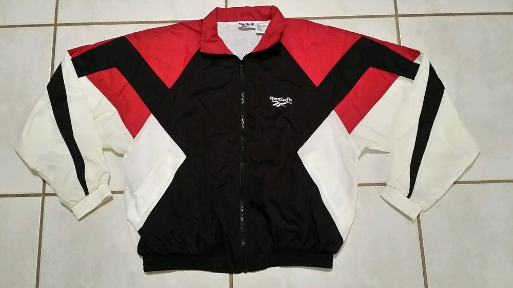 reasonable price available really comfortable Vintage REEBOK RED/BLACK/WHITE Color Block Windbreaker ...