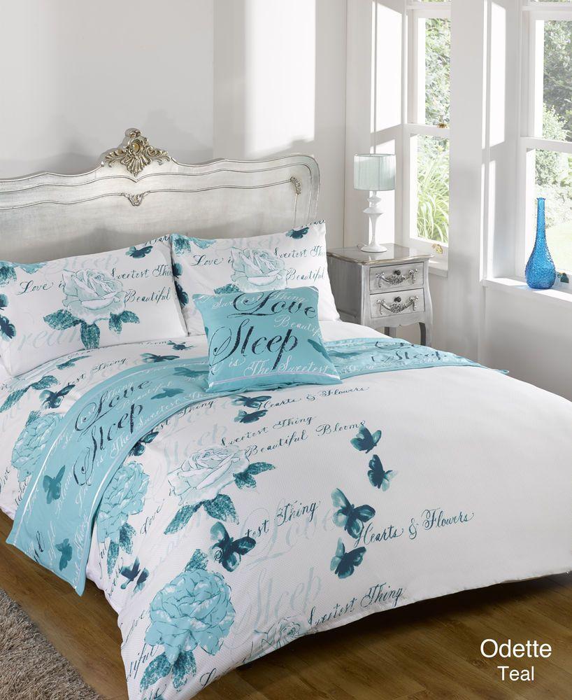 Odette Teal Bed In A Bag Duvet Quilt Cover Bedding Set
