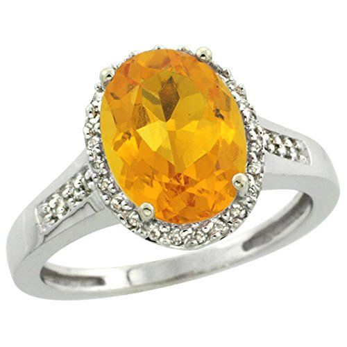 Sterling Silver Diamond Natural Citrine Ring Oval 10x8mm 12 inch wide size 10 -- More info could be found at the image url.