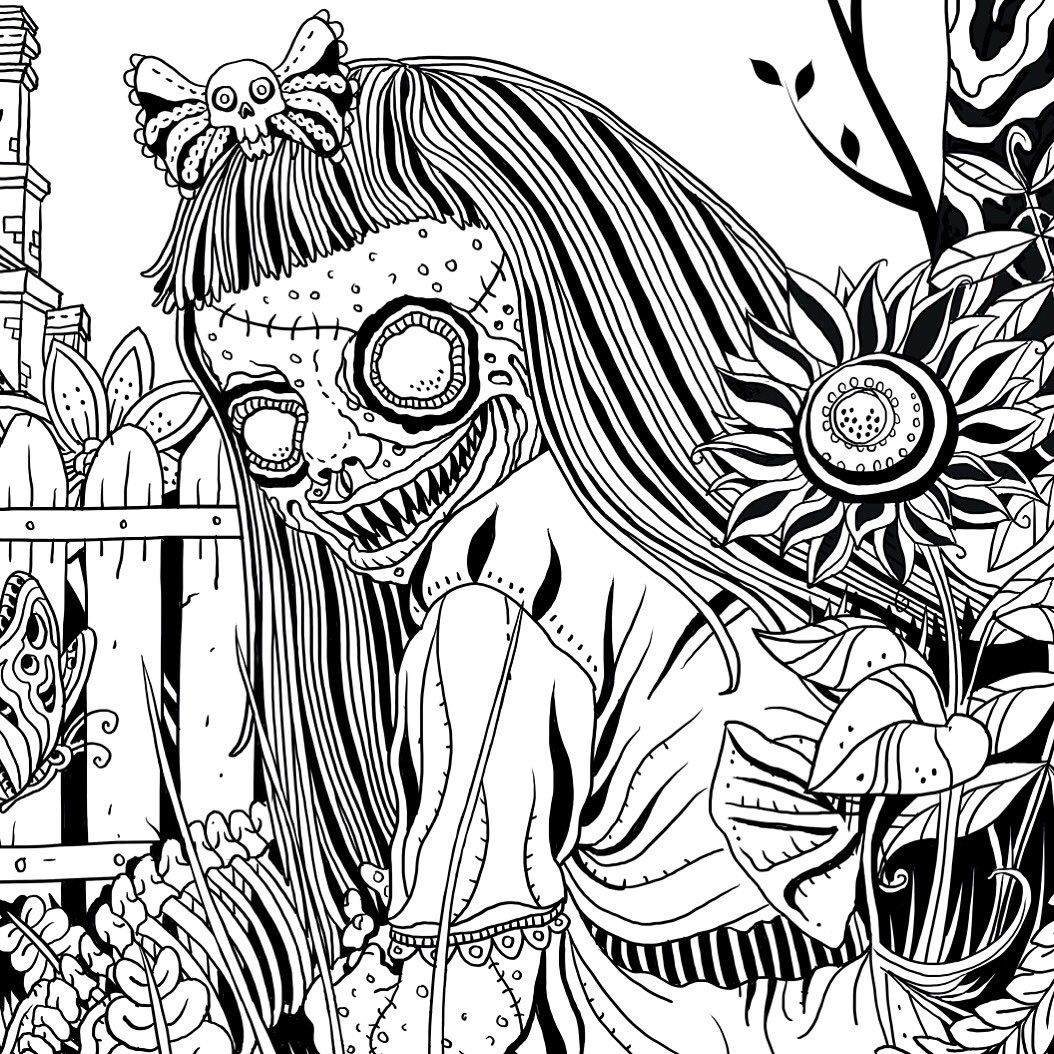 Beauty of Horror Coloring Book  Scary coloring pages, Coloring