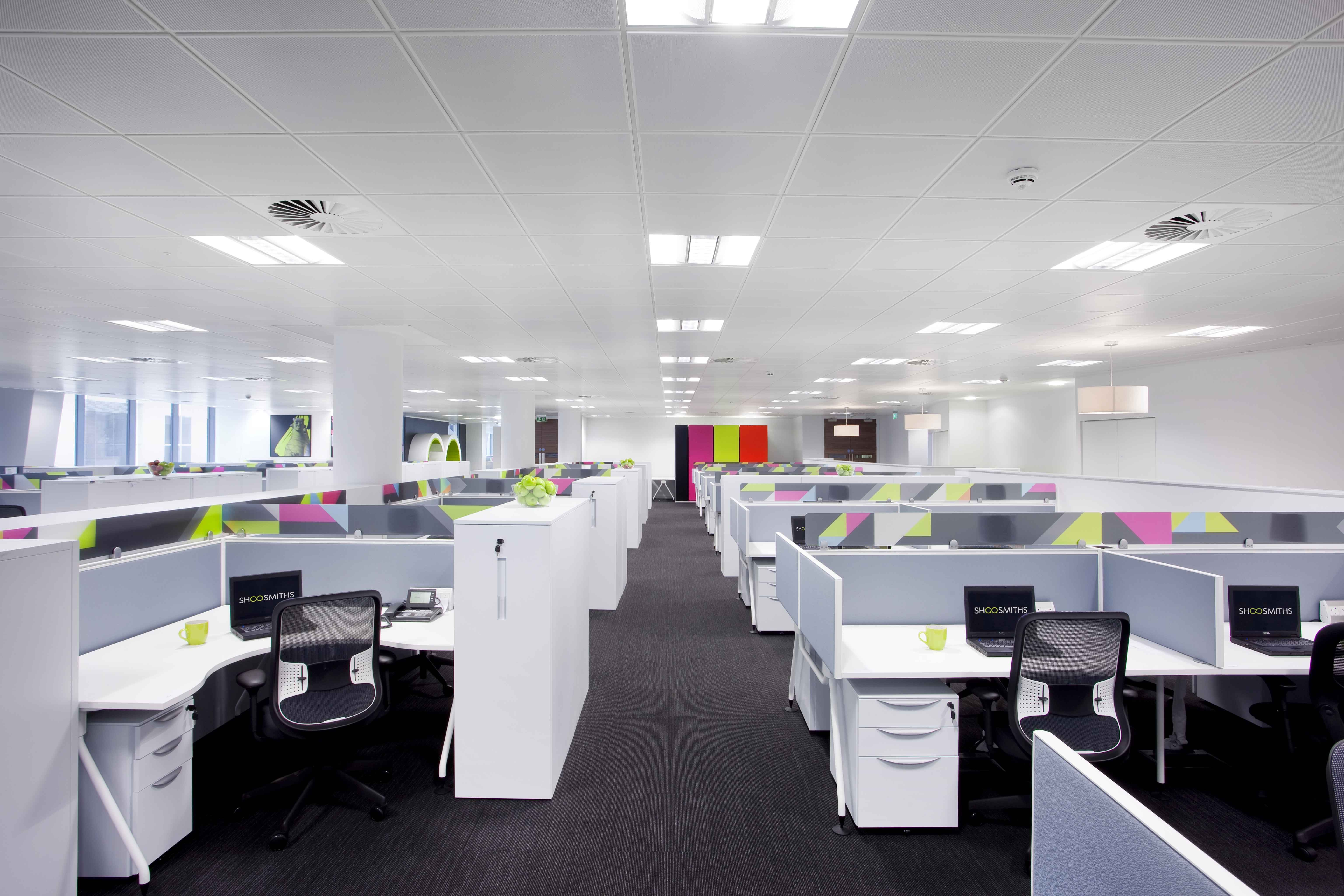 Open plan interior design colourful modern office design fit out