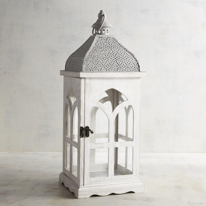 Small White Wood Cathedral Lantern White Wash