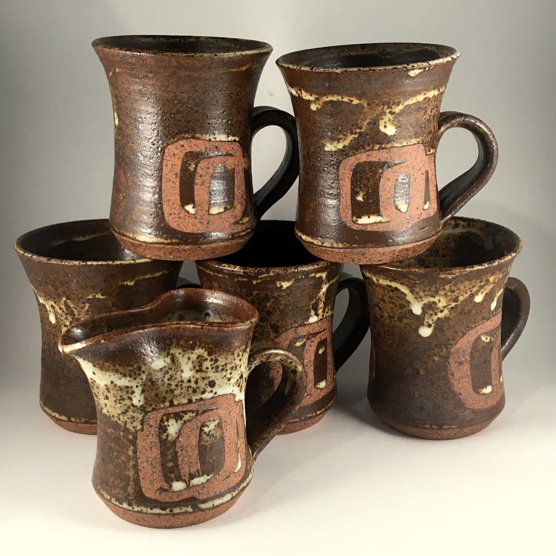 Kim Bruce Stoneware Coffee Set, 5 mugs, 1 creamer, 1970's