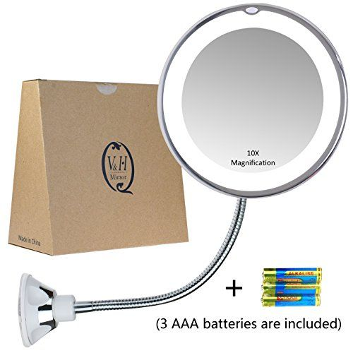 Gooseneck Magnifying Mirror with light, 10X Magnification ...