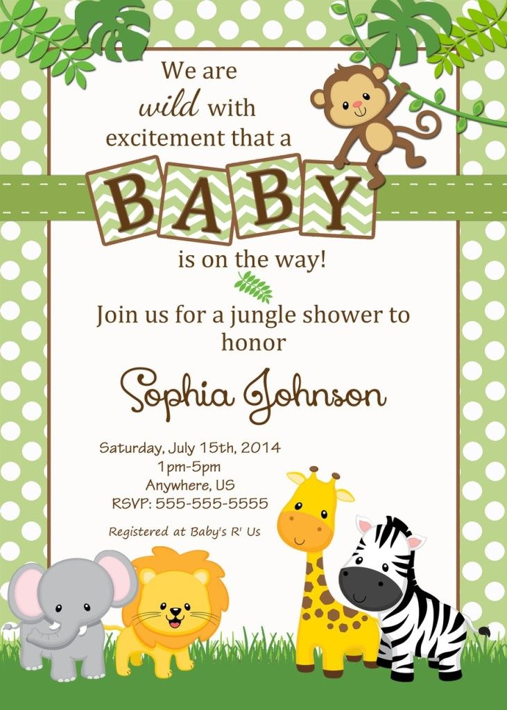 baby shower jungle theme invitations | baby shower ideas | Pinterest ...