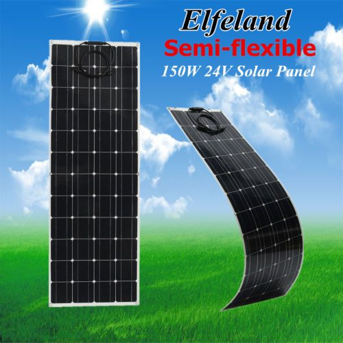 150w Watt 24v Elfeland Semi Flexible Solar Panel Off Grid With Cable For Rv Boat Flexible Solar Panels Solar Panels Solar Panel Charger