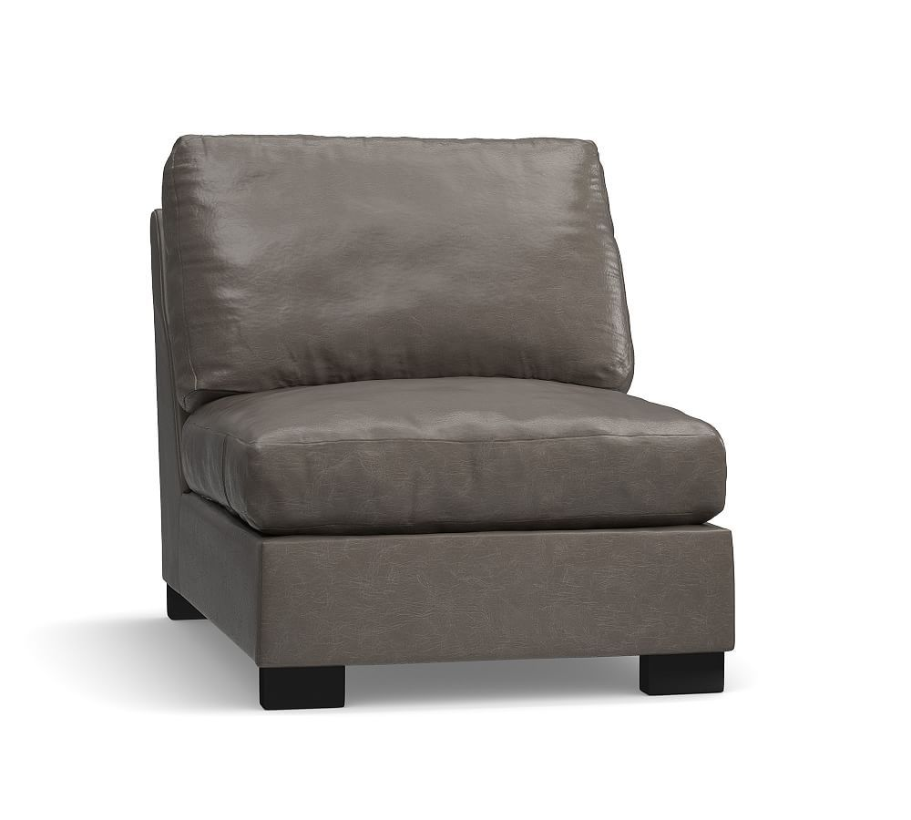 Turner Leather Armless Chair, Down Blend Wrapped Cushions