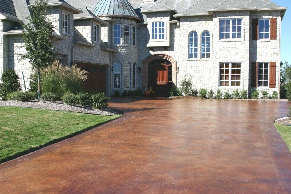 Breathtaking Stain Existing Concrete Patio On Rustic Brown Paint Color Also Random Stone Wall Cladding Under Cal Vintage Roofing From Asphalt
