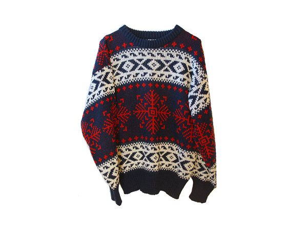 Winter Nordic Comfy Hipster Sweater Vintage Soft Acrylic Red White Navy Beautiful Print