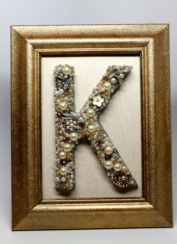 5x7 Framed Letter K Hand Made With Vintage And Costume