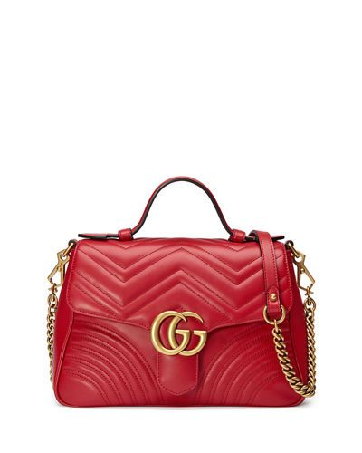 6b1c8351235e GUCCI GG MARMONT SMALL CHEVRON QUILTED TOP-HANDLE BAG WITH CHAIN STRAP.   gucci  bags  shoulder bags  hand bags  suede  lining