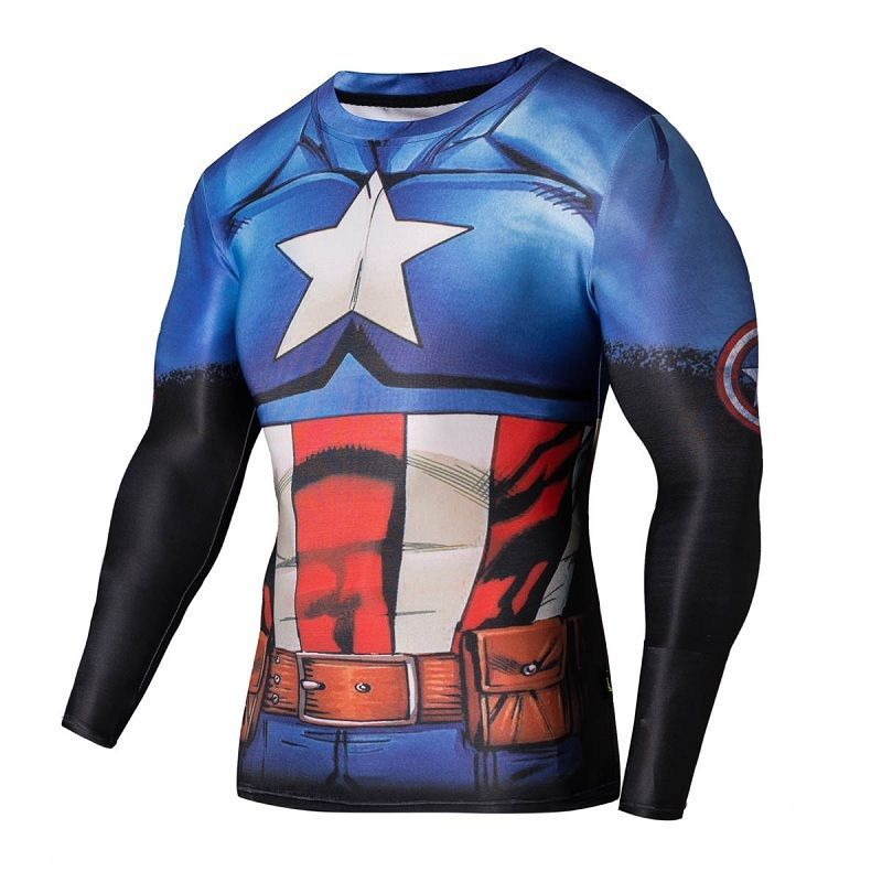 138e6a777 Marvel Captain America Tee Long Sleeve Compression Men T-shirt Sport Tight  Tops