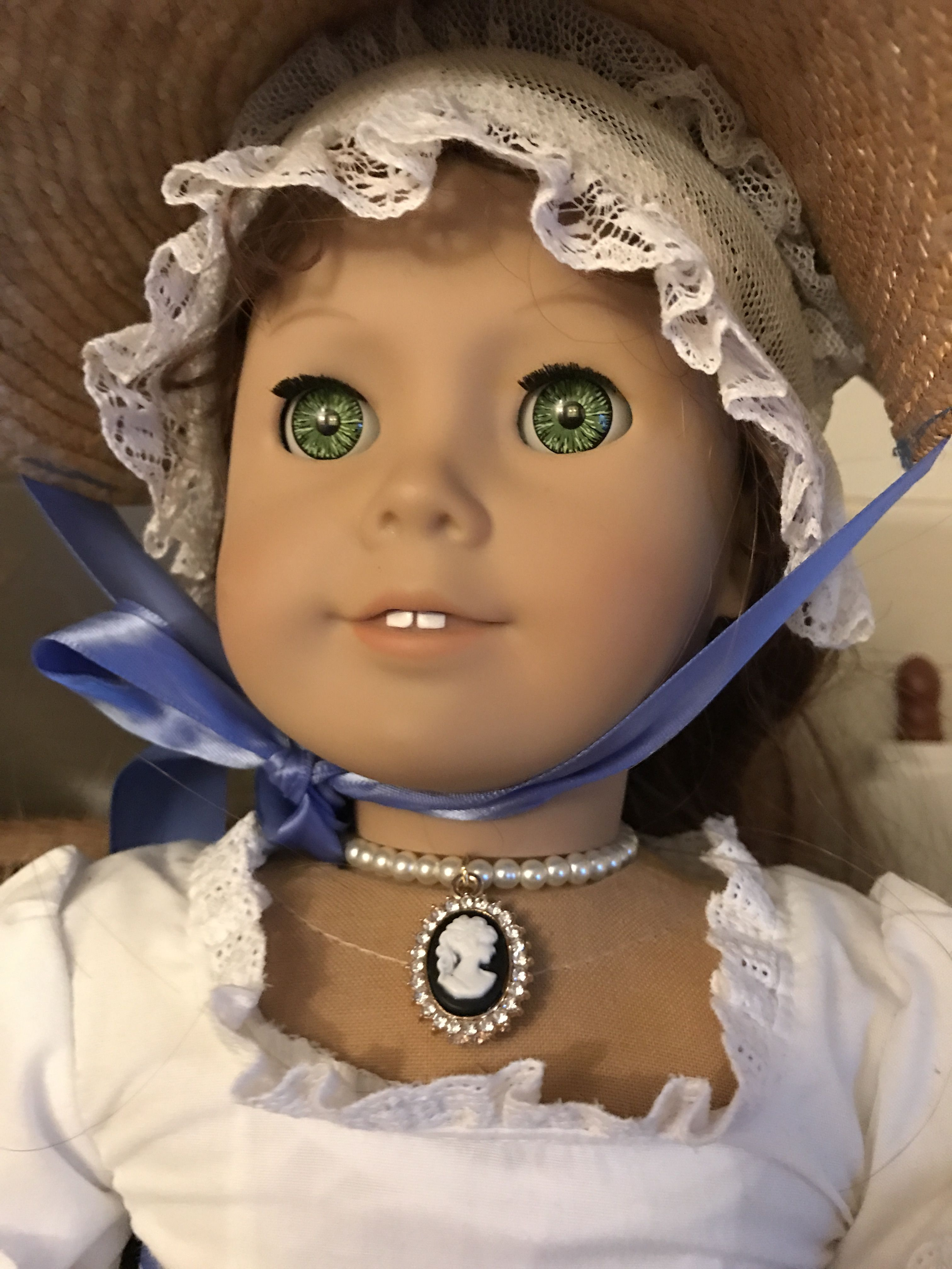 Cameo Pearl Necklace for 18 Inch Doll American Girl Elizabeth Jewelry