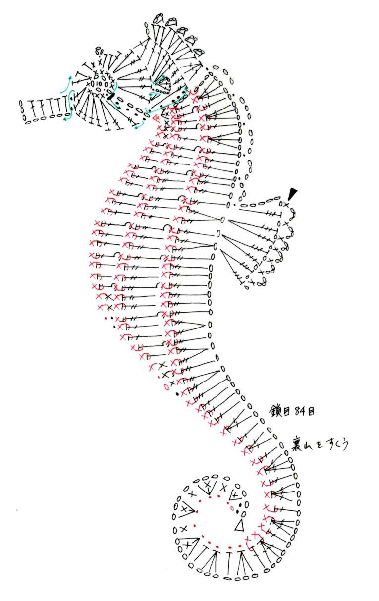 Crochet seahorse diagram only - Crochet / knit / stitch charts and ...