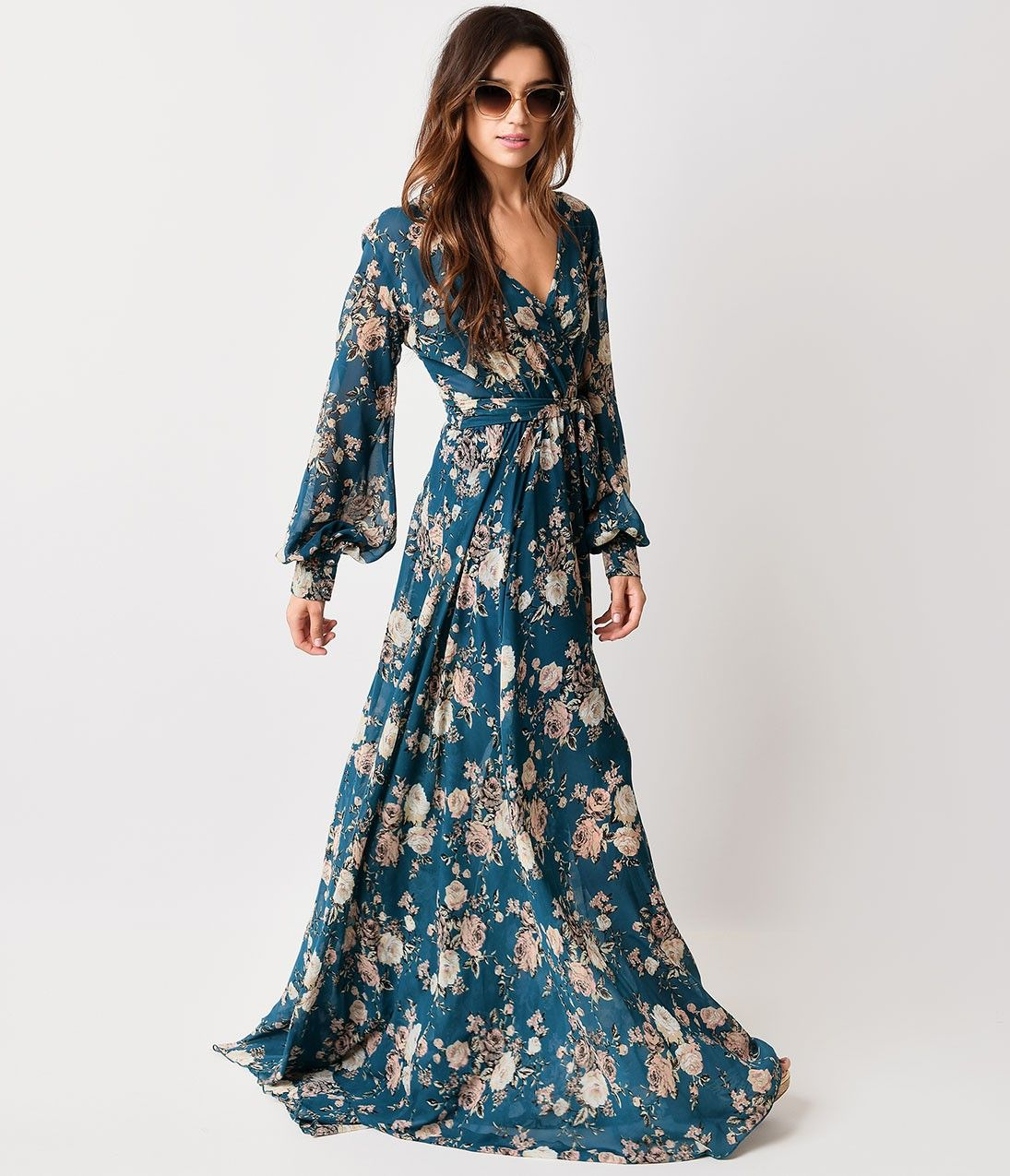 b794e50fec 1970s Style Teal Rose Floral Long Sleeve Maxi Dress | 1970's: That ...
